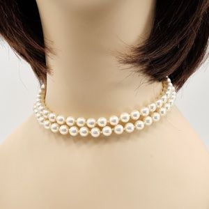 Single Strand Long Faux Pearl Necklace Vintage
